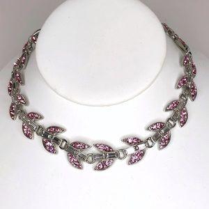 Betsey Johnson Pink Rhinestone Choker Necklace